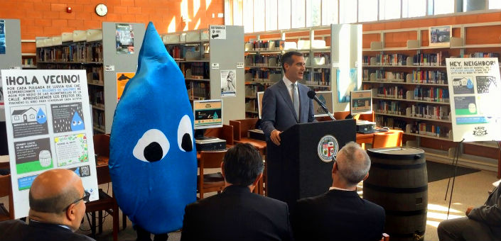 """At """"Imagine a Day Without Water"""" event, Mayor announces """"Capture the Drop"""" initiative to prepare Angelenos for new opportunities to fight drought by collecting and conserving our most precious natural resource."""
