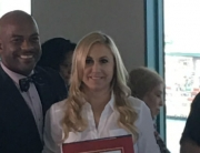 Coastal San Pedro NC Board Member Shannon Ross being awarded by State Senator Isadore Hall.