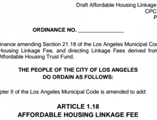 Affordable Housing Linkage Fee – Release of Draft Ordinance