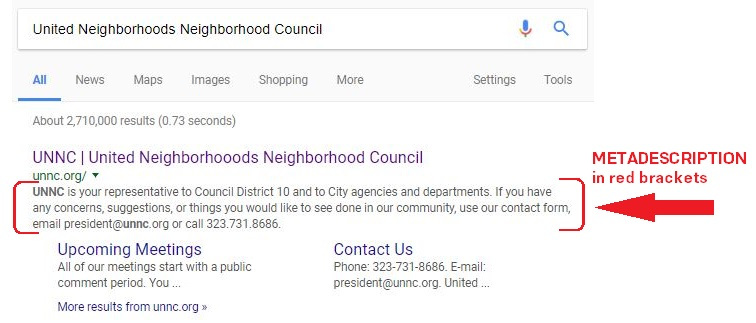 United Neighborhoods Neighborhood Council's metadescription as shown on Google