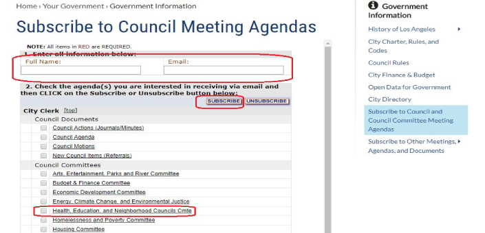 How to subscribe to LA City Council's Health Education & Neighborhood Councils Committee agenda