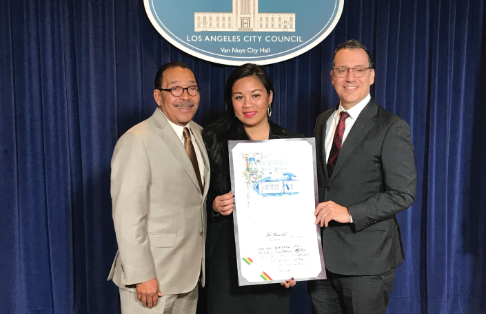 Corinne Ho of Canoga Park Neighborhood Council receives award from LA City Council President Herb Wesson + CD3 Councilmember Bob Blumenfield
