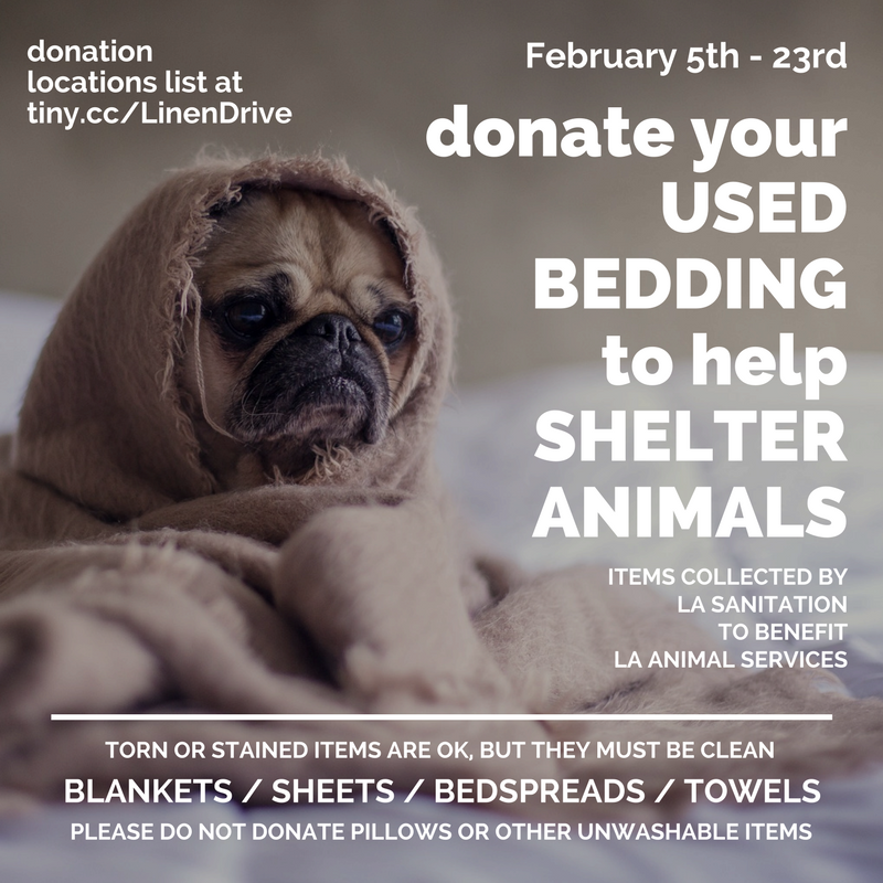 web flyer for LA Sanitation's Used Linen Drive 2018, to gather bedding for shelter animals
