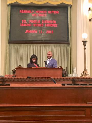 HGNNC Chair Pamela Thornton honored as Unsung Hero by Assemblymember Gipson (1)