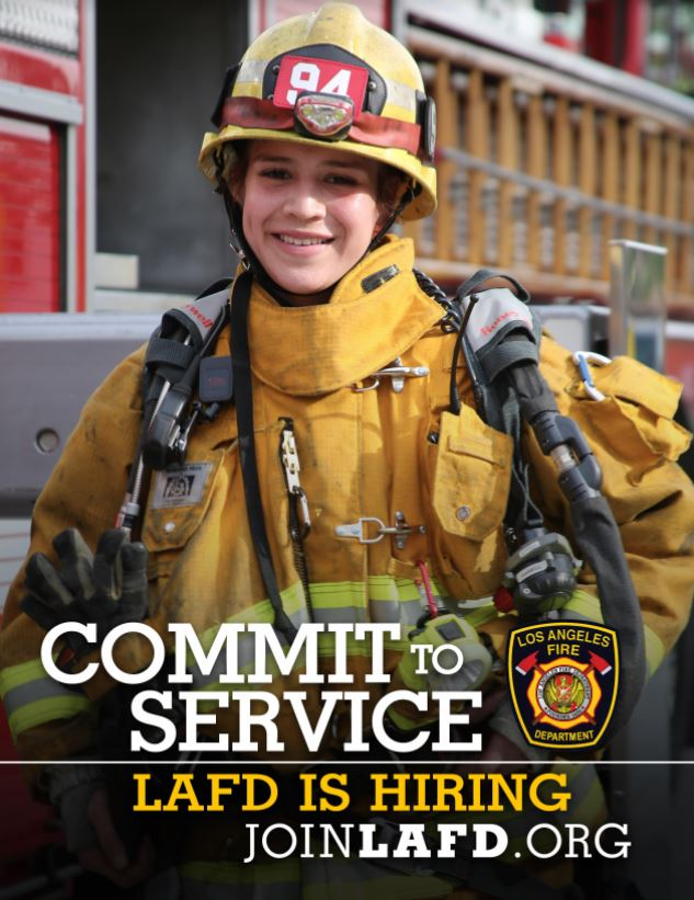 The Los Angeles Fire Department (LAFD) is hiring! Visit http://JoinLAFD.org for info
