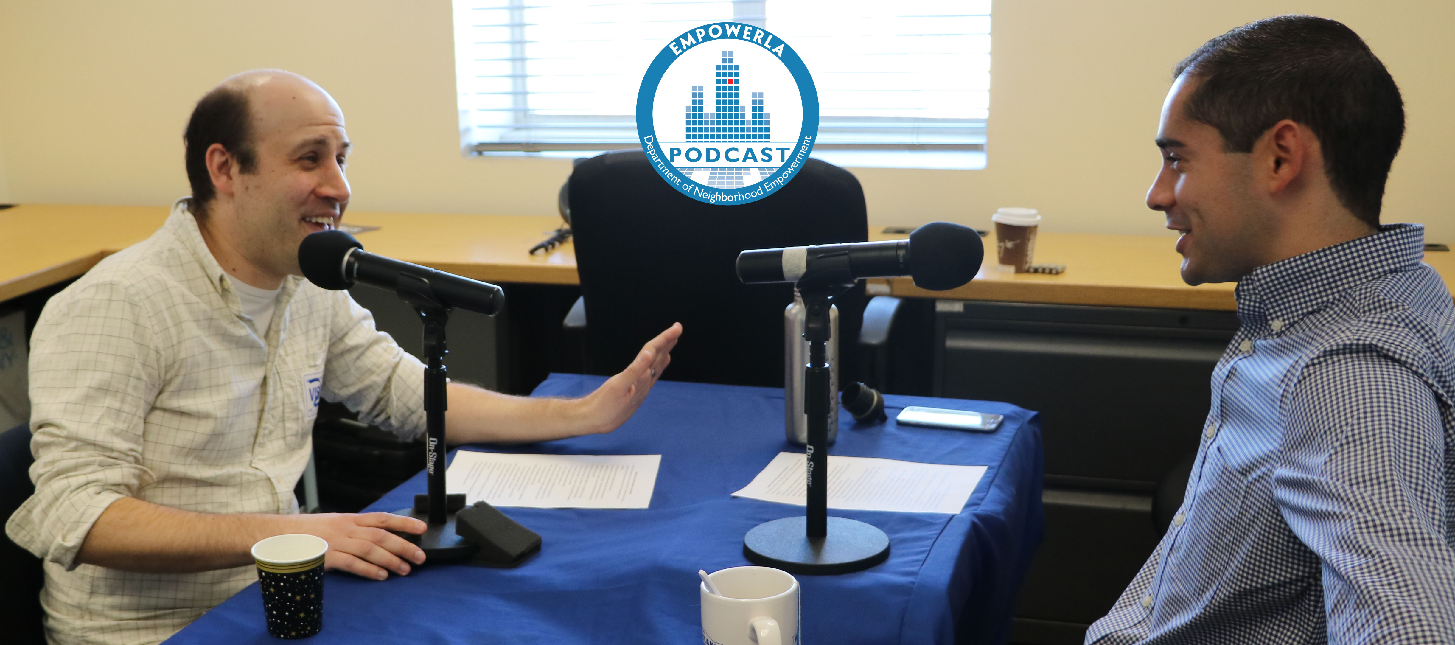 Photo of Scott Epstein being interviewed by Brett Shears during a Podcast