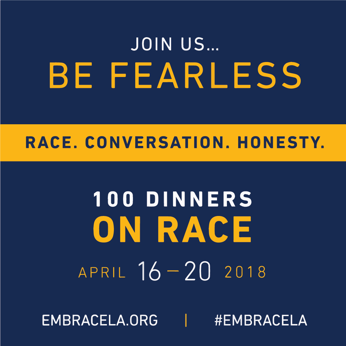 web flyer for embRACELA 100 Dinners About Race event April 2018