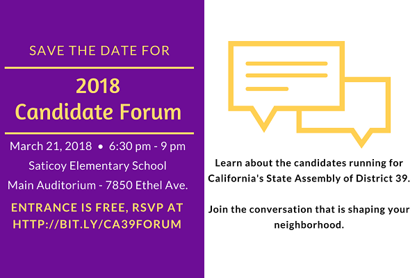 AD39 Candidate Forum hosted by 6 Valley NCs + League of Women Voters Wednesday 3-21(newsletter image)