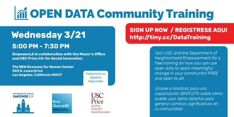event invite for free Open Data Training on March 21 presented by EmpowerLA + USC Price School for Social Innovation
