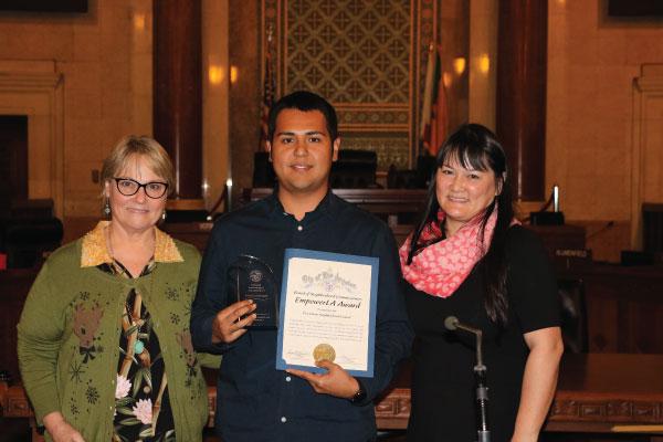 Central LA EmpowerLA Award 2018 winner Pico-Union NC with Grayce Liu and Neighborhood Commissioner Debbie Wehbe