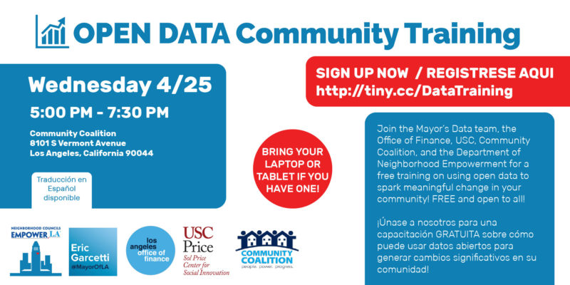 Free Open Data Training Wednesday April 25th (event flyer)