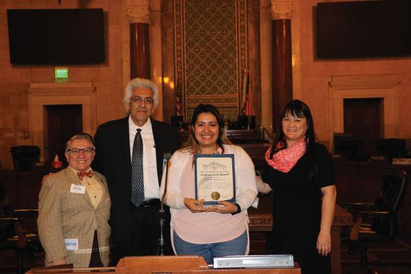East LA EmpowerLA Award 2018 winner Boyle Heights NC with Grayce Liu and Neighborhood Commissioner Ray Regalado