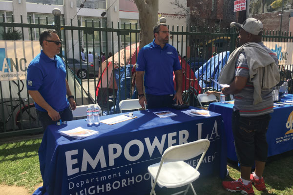 EmpowerLA table at the DLANC Skid Row Job Fair