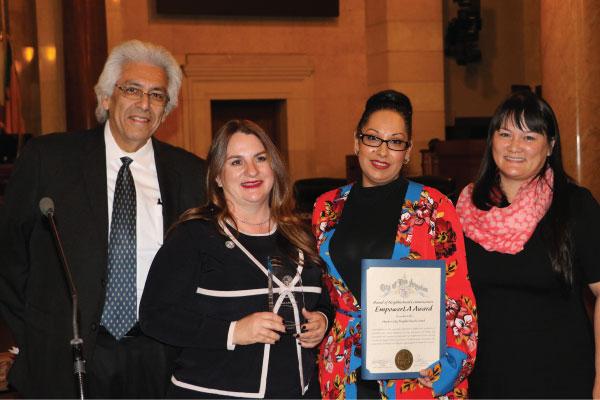 Harbor EmpowerLA Award 2018 winner Harbor City NC with Grayce Liu and Neighborhood Commissioner Ray Regalado