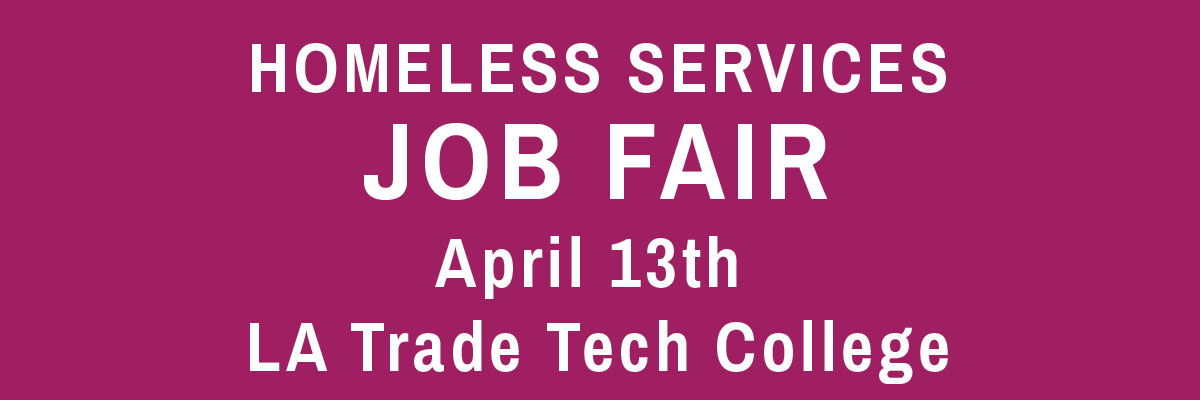 Homeless Services Job Fair April 13th (newsletter and blog header image)