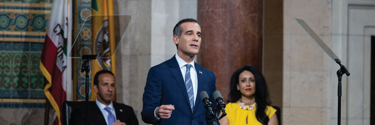 Mayor Garcetti delivering the 2018 State of the City address (newsletter image)