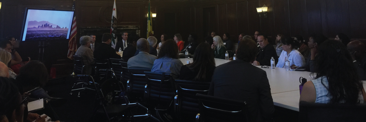 Neighborhood Council Homelessness Liaisons meet with Mayor Eric Garcetti (newsletter & blog image)
