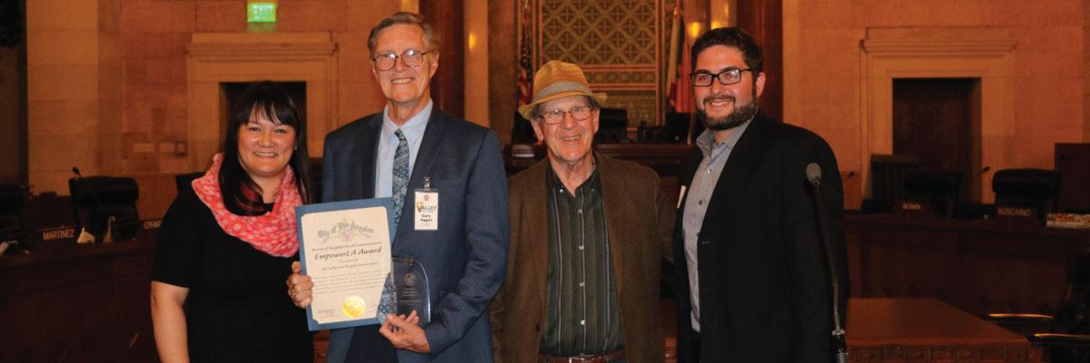 North Valley EmpowerLA Award 2018 winner Sun Valley Area NC with Grayce Liu and Neighborhood Commissioners Leonard Shaffer and Eli Lipmen