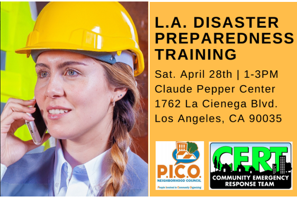 graphic for PICO NC Disaster Preparedness Training event April 28 (newsletter image)