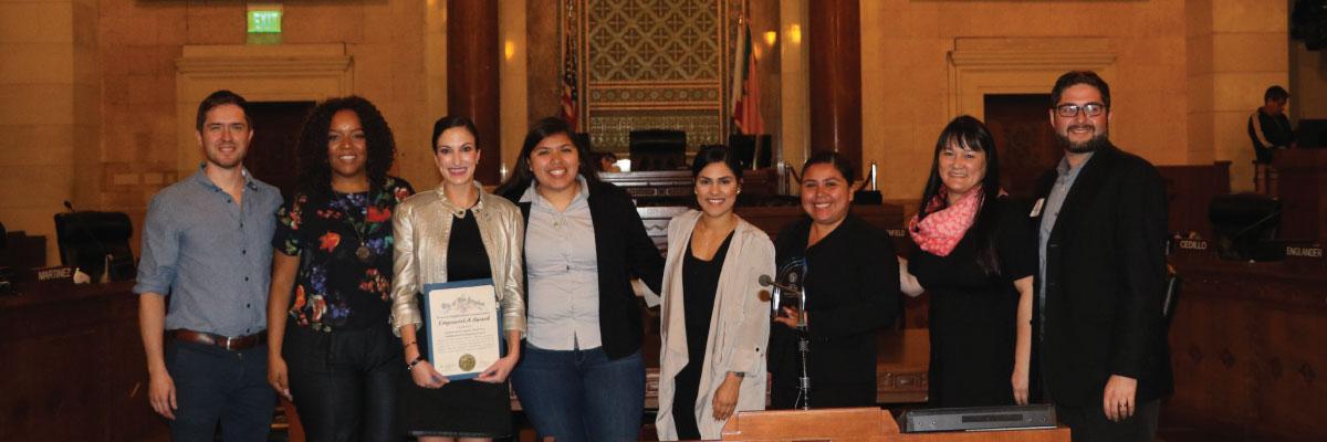 South LA EmpowerLA Award 2018 winner NANDC with Grayce Liu and Neighborhood Commissioner Eli Lipmen