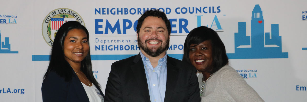 EmpowerLA Awards 2018 photobooth pic showing L to R: Saira Cooper, Vice Chair, Harbor Gateway North; Aaron Elster, Mar Vista; Aaron Pamela Thornton, Chair, Harbor Gateway North.