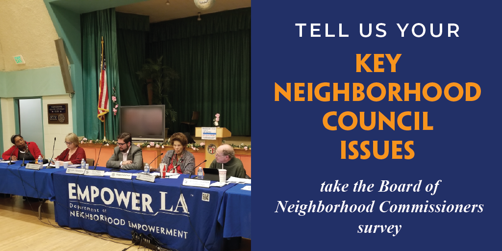 Board of Neighborhood Commissioners 2018 survey on Neighborhood Council issues