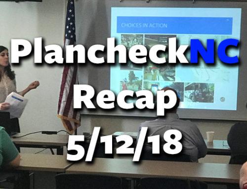 PlanCheckNC Recap 5/12/18