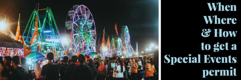 Photo of a carnival at night - Bureau of Street Services issues permits for carnivals, festivals, and other public right of way events