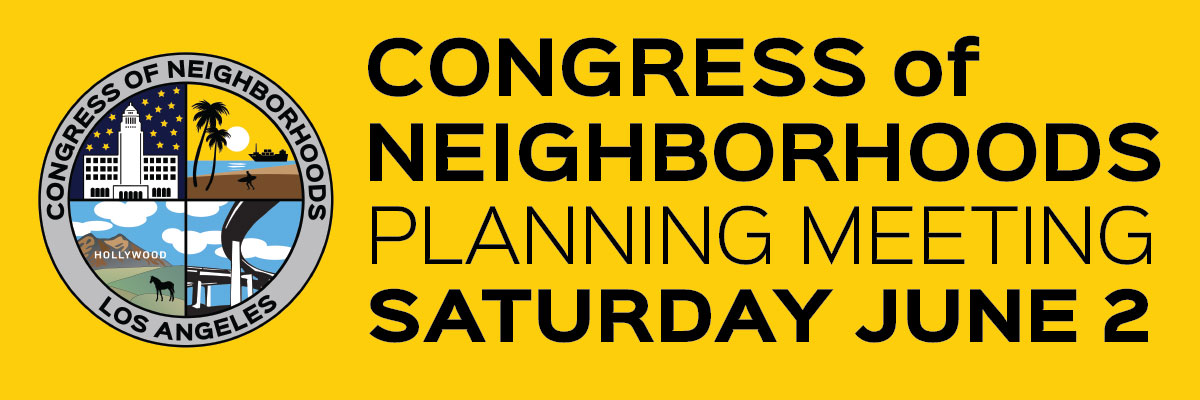 header image for Congress of Neighborhoods planning committee meeting Saturday June 2, 2018 at LADWP headquarters downtown LA