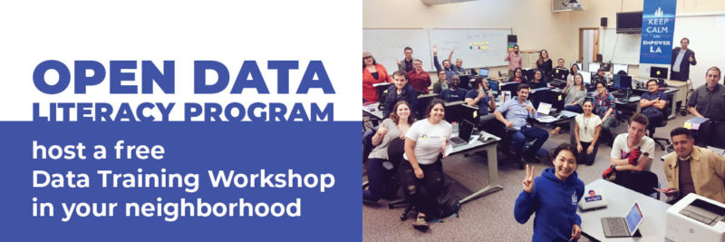 Data Literacy Program blog article header with photo from Boyle Heights Data Training Workshop