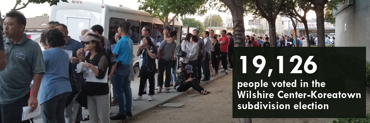 Line outside the Wilshire Center Koreatown NC subdivision election polls (photo by Lilian Kim)