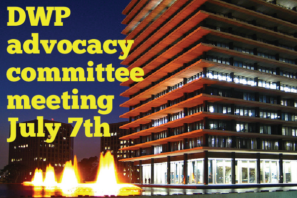DWP Advocacy Committee meeting graphic - photo of John Ferraro Building DTLA by Alossix (Stephen Friday) [CC BY 3.0 license] via Wikimedia Commons