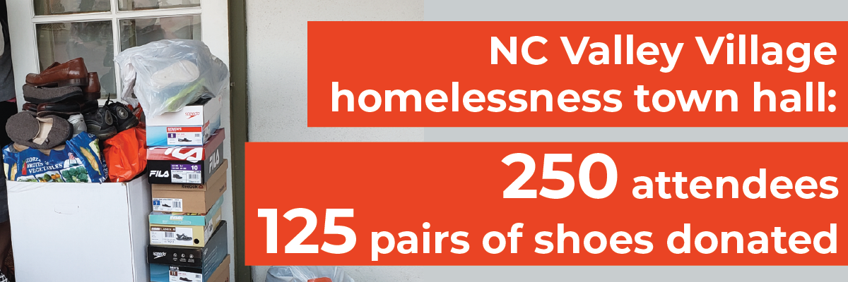 photo of some of the 125 pairs of shoes collected for the homeless at the NC Valley Village homelessness town hall