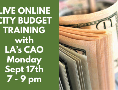 Live Online City Budget Training with the CAO Monday September 17th