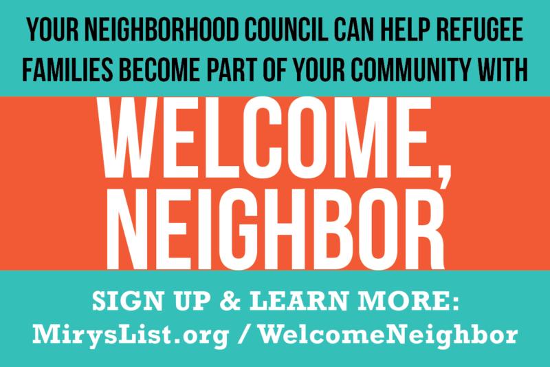 Welcome Neighbor Neighborhood Council based refugee welcome program launches