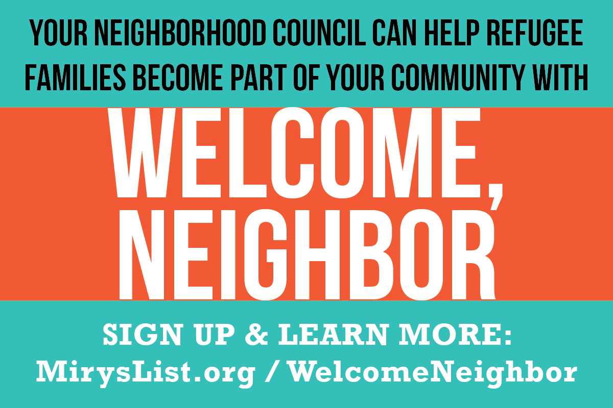 Welcome Neighbor Neighborhood Council based refugee welcome program launches