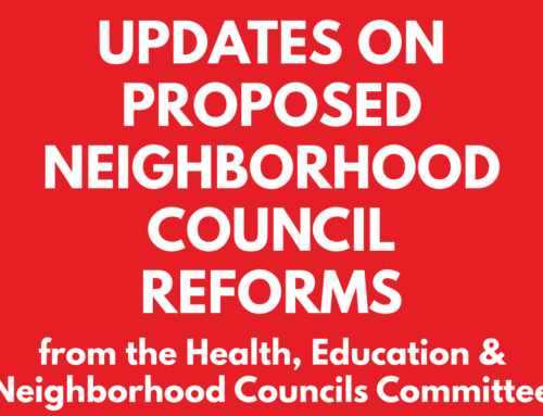 Updates on Neighborhood Council Reform from Health, Education & Neighborhood Councils Committee