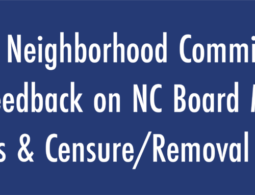 Board of Neighborhood Commissioners Seeks Feedback on NC Board Member Trainings & Censure/Removal Process