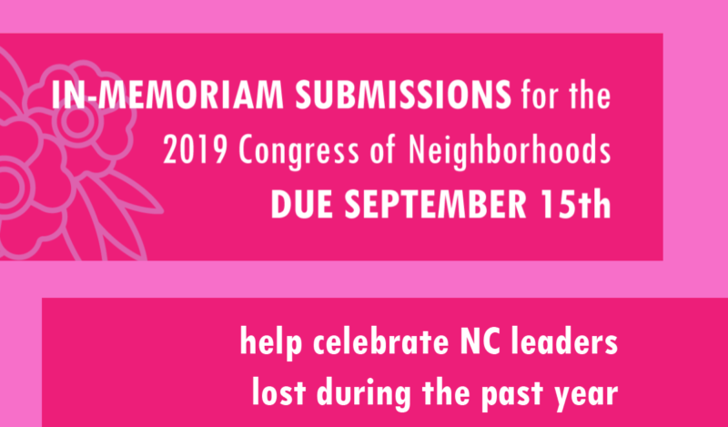call for memorial submissions to celebrate NC leaders lost during 2019