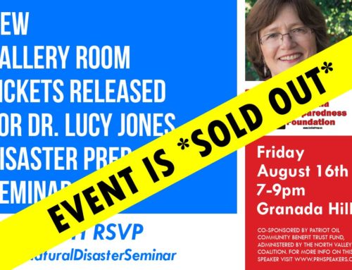 *SOLD OUT* – Earthquake Expert Dr. Lucy Jones' Seminar Aug 16th in Granada Hills