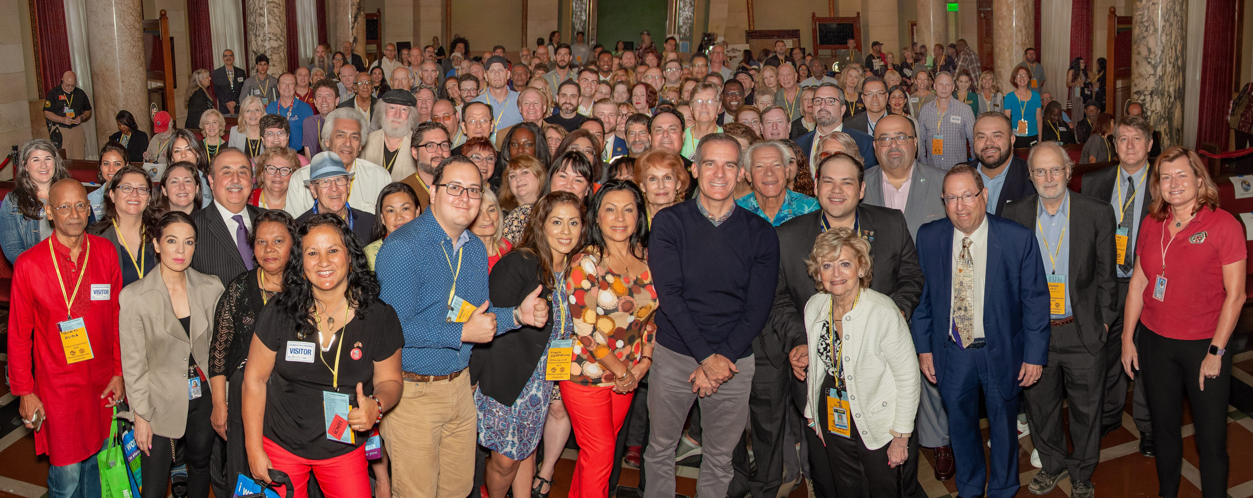 Neighborhood Council members with the Mayor of Los Angeles at the 2019 Congress of Neighborhoods