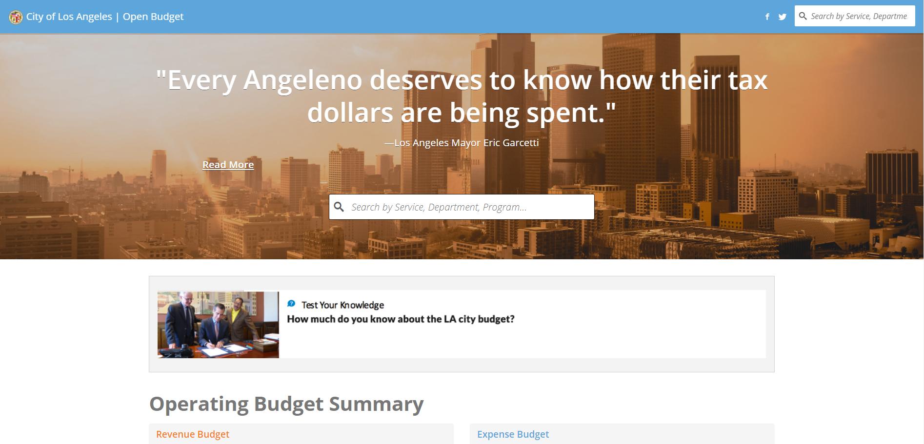 LA open budget site screenshot