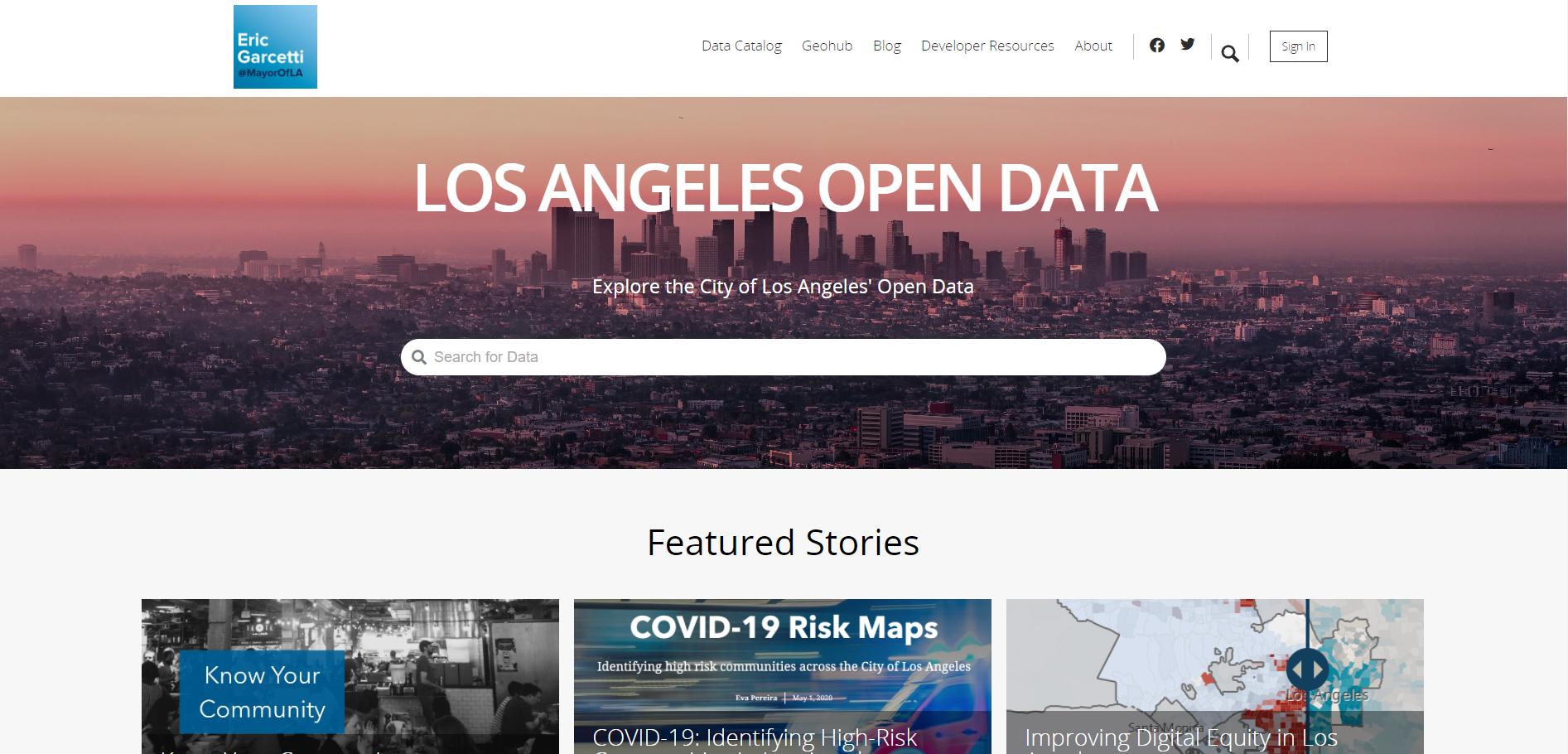 LA open data site screenshot
